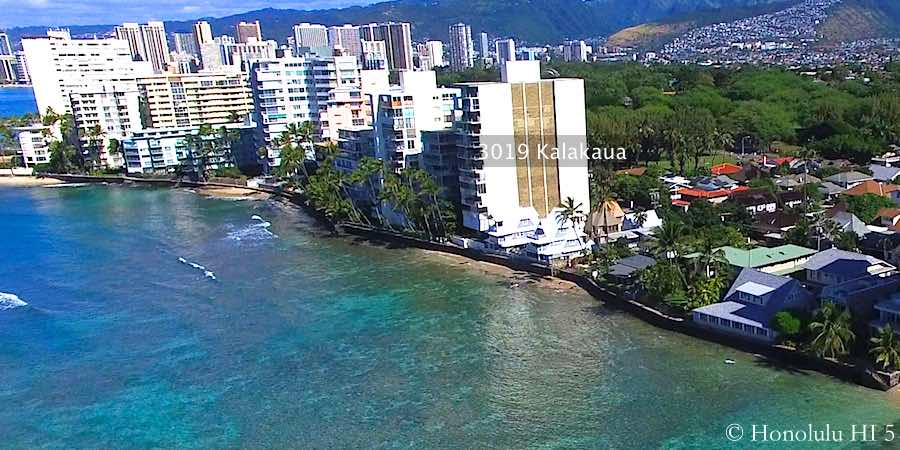 3019 Kalakaua Condo Seen From Ocean Among Other Gold Coast Condos