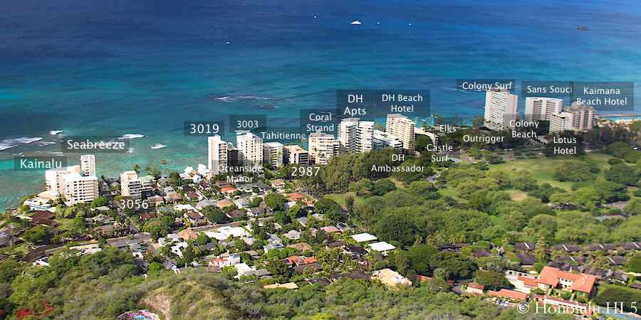 Hawaii's Gold Coast with Names of All Condos