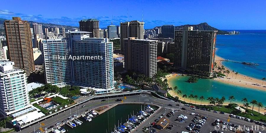 Ilikai Condo and Waikiki Beach Seen From the Air
