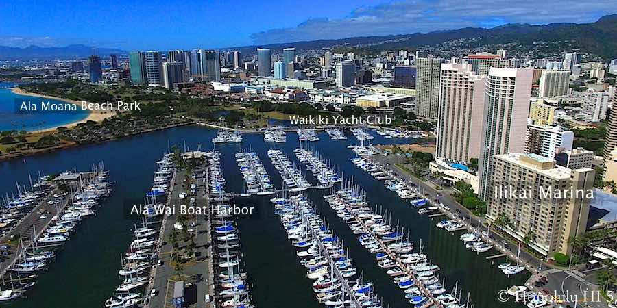 Ilikai Marina Condo and Ala Wai Harbor - Aerial Photo