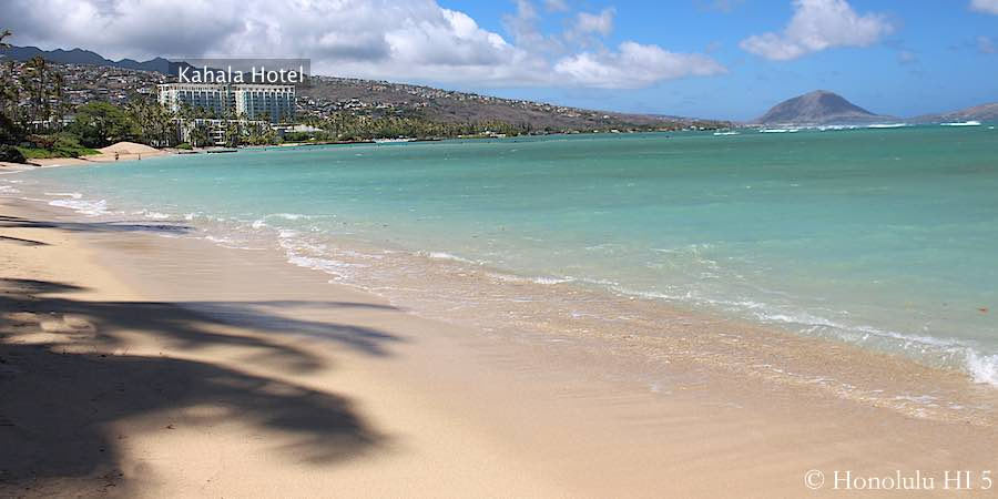 Pristine White Sandy Kahala Beach With Kahala Hotel in Distance