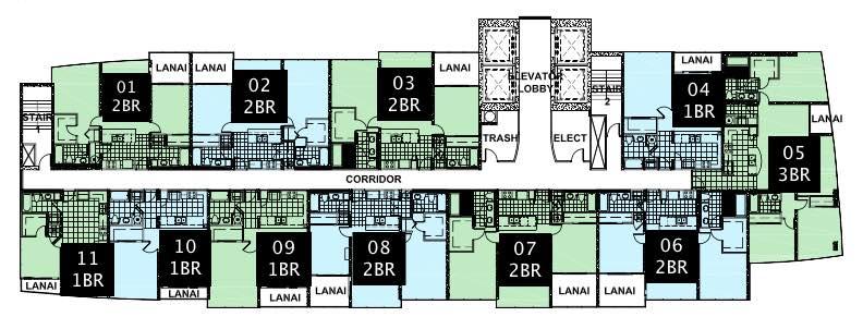 Keauhou Place Standard Floor Plate - 8 Floor to 37 Floor