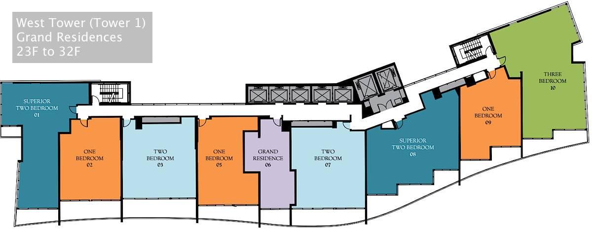 Ritz-Carlton Waikiki Floor Plans - West Tower Grand Residences Level 23 to 32