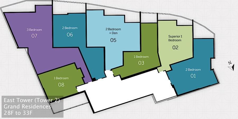 Ritz-Carlton Waikiki Floor Plans - Grand Residences East Tower Floor 28 to 33