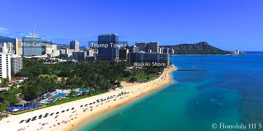 Trump Waikiki Aerial Photo From the Oceanside