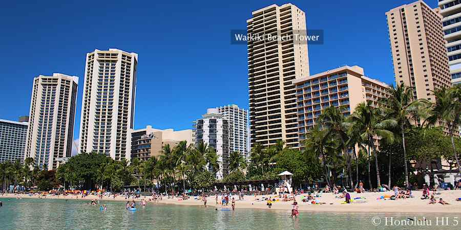 Waikiki Beach Tower Seen From Waikiki Beach