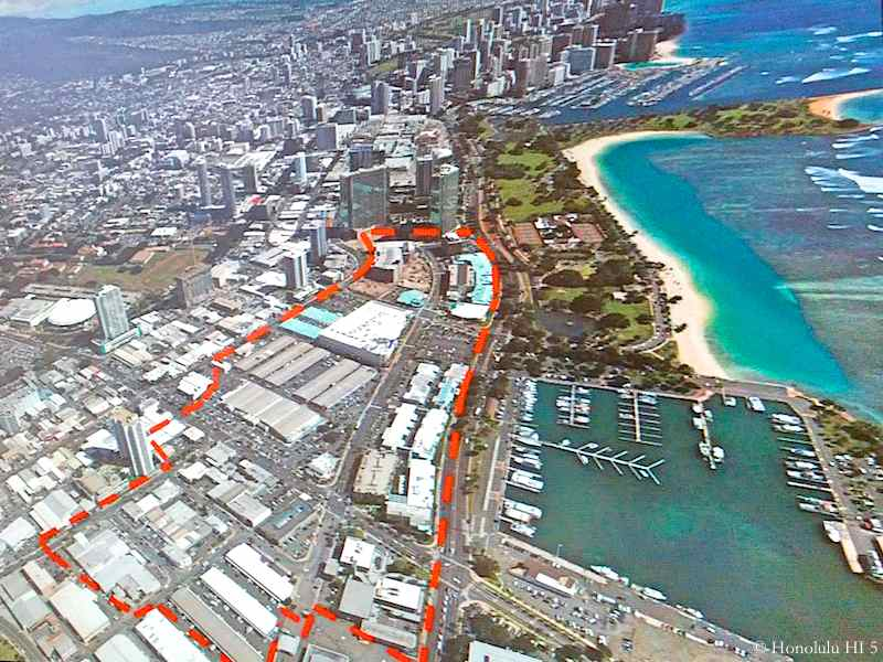 Aerial Photo of Kakaako with a Red Line Showing Where Ward Villages Run