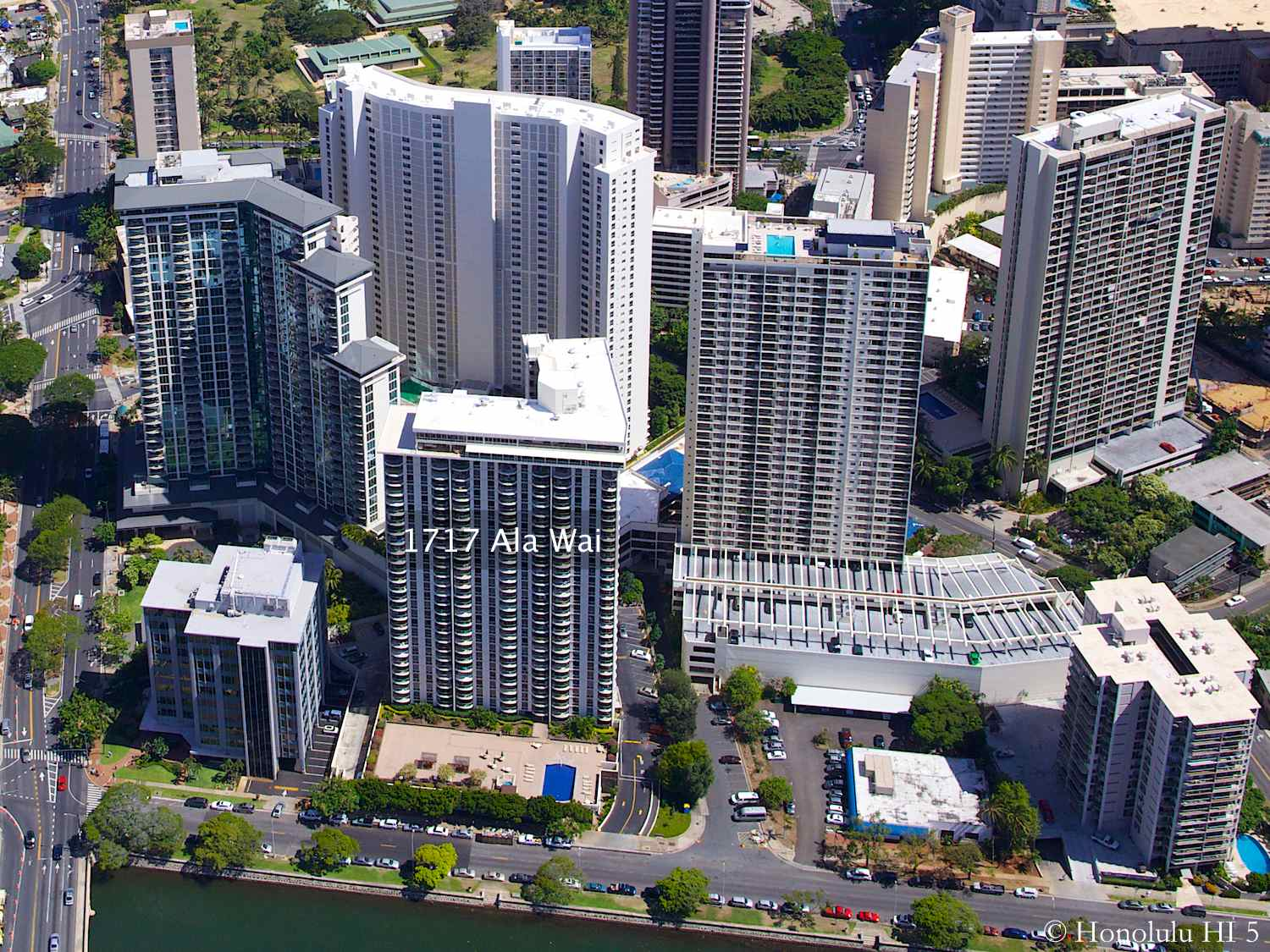 1717 Ala Wai Condo in Waikiki Seen From the Air with other High-rises Around