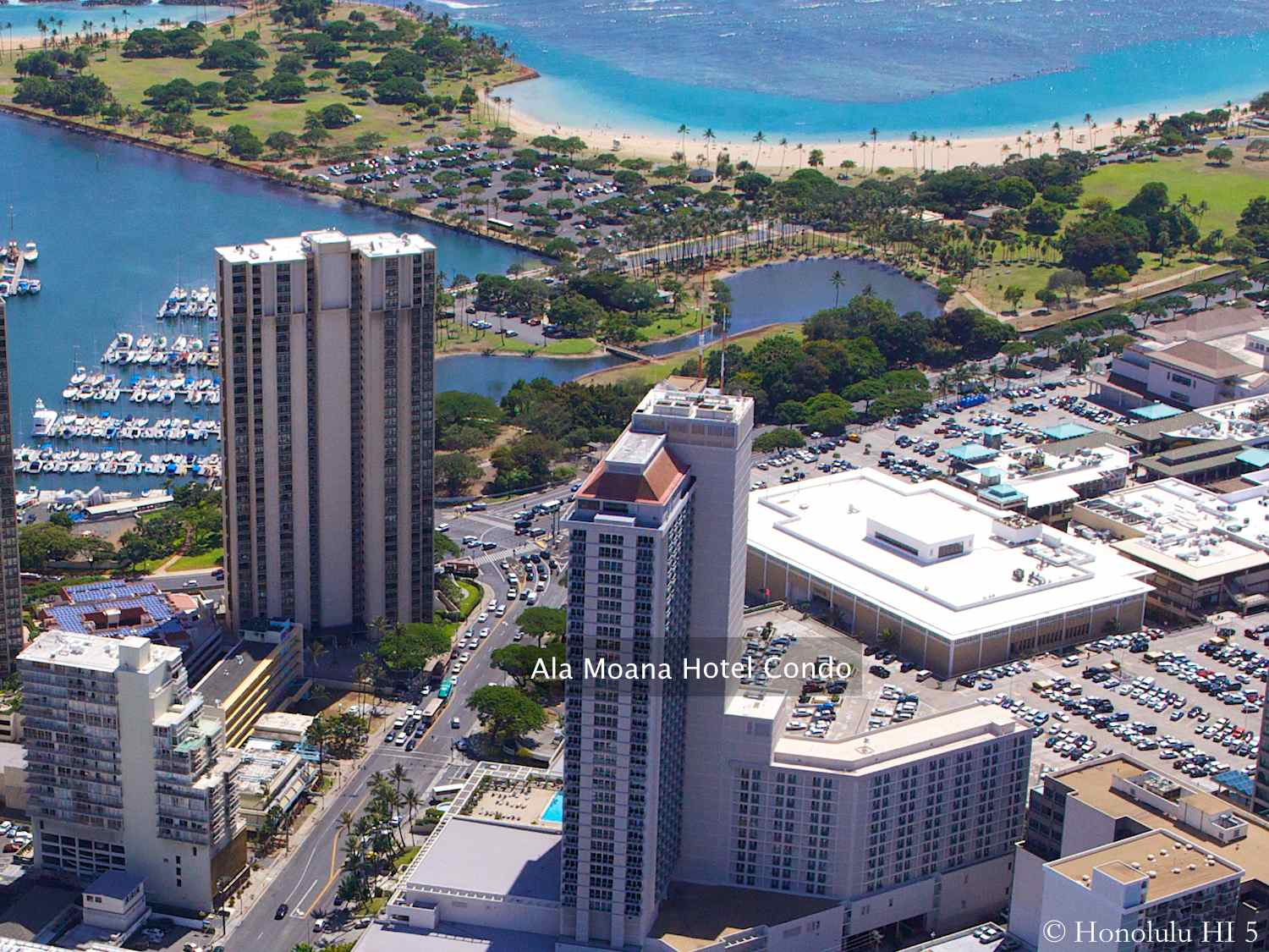 Ala Moana Hotel Condo Aerial Photo with Ocean in Background