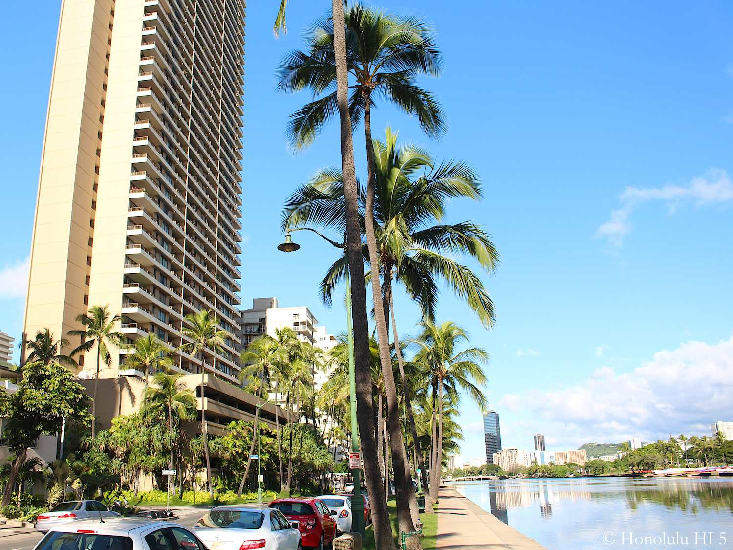 1717 Ala Wai Condos - a High-rise - Seen with Ala Wai Canal to the Right