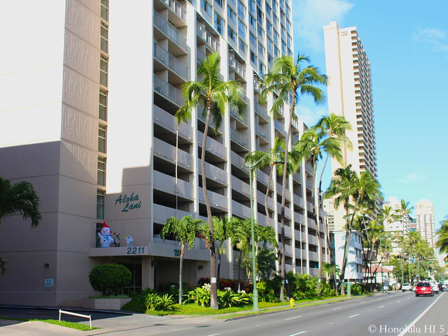 Aloha Lani Condo Entrance and Lower Part of Building with Ala Wai Boulevard In Front of Building