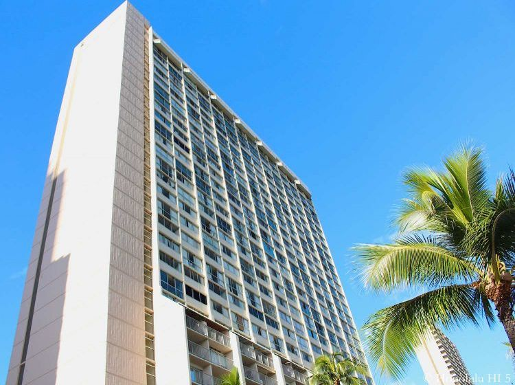 Aloha Lani Condos in Waikiki - Older Off-White Large High-Rise Condo
