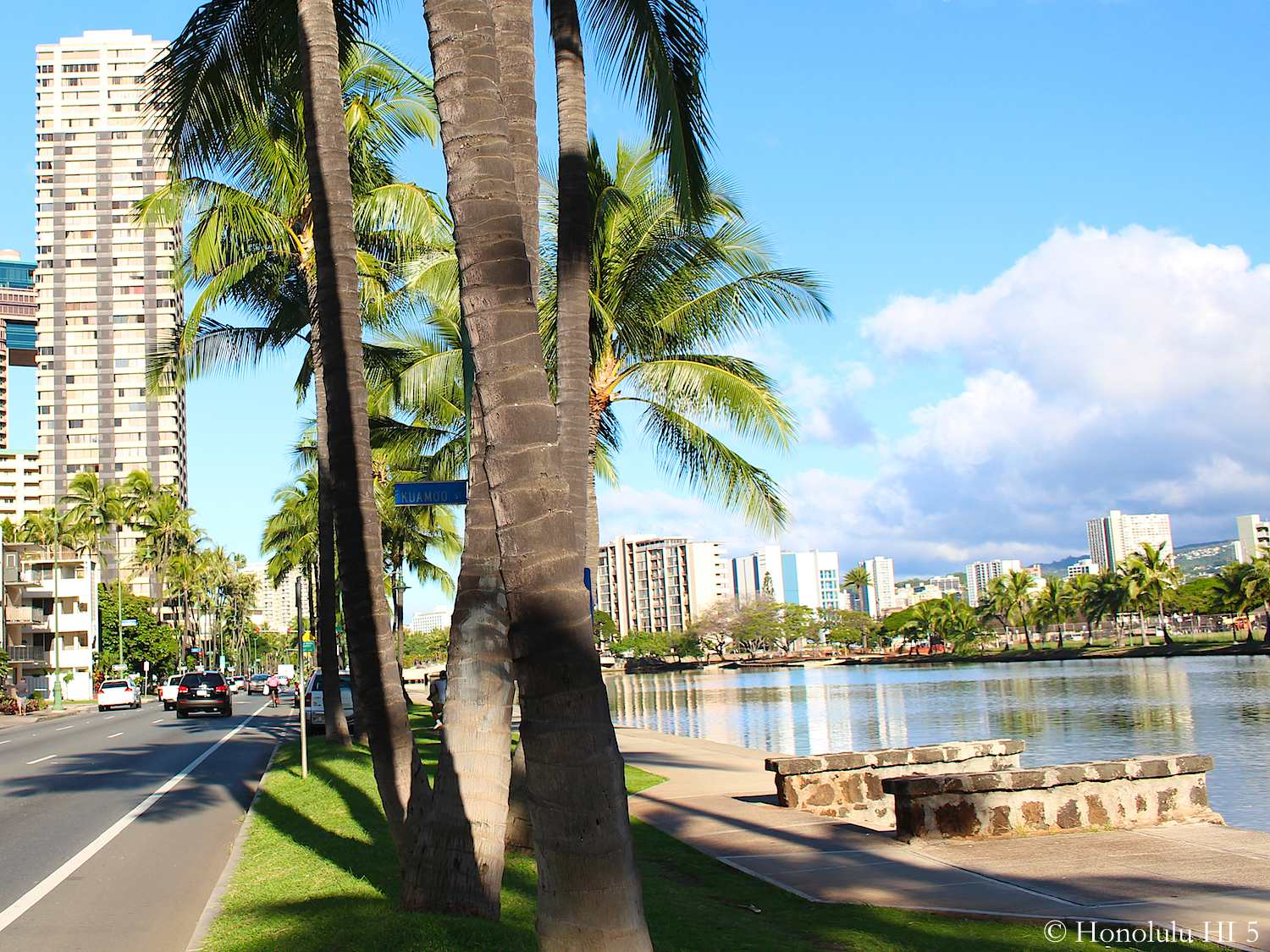 Hawaiian Monarch Condo Seen From Ala Wai Boulevard with the Canal on the Right Side