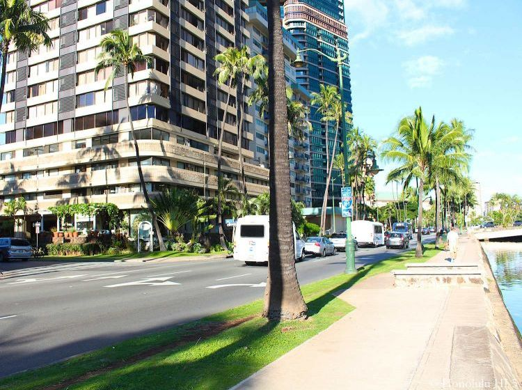 Lower Floors of Hawaiian Monarch Condos in Waikiki with Ala Wai Boulevard in the Front