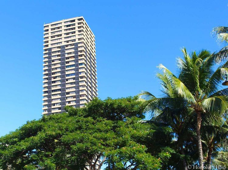 Hawaiian Monarch Condos - a High-rise in Waikiki - Seen with Large Bush in the Front