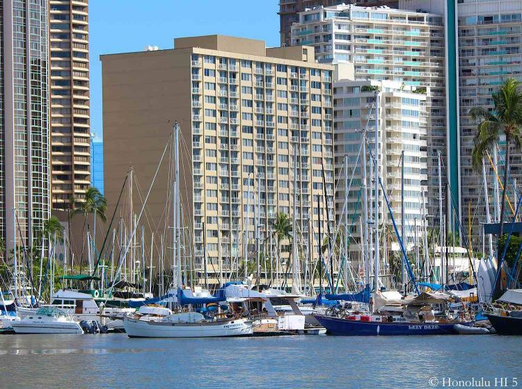 Ilikai Marina Condos in Waikiki with Boats and Harbor in the Front
