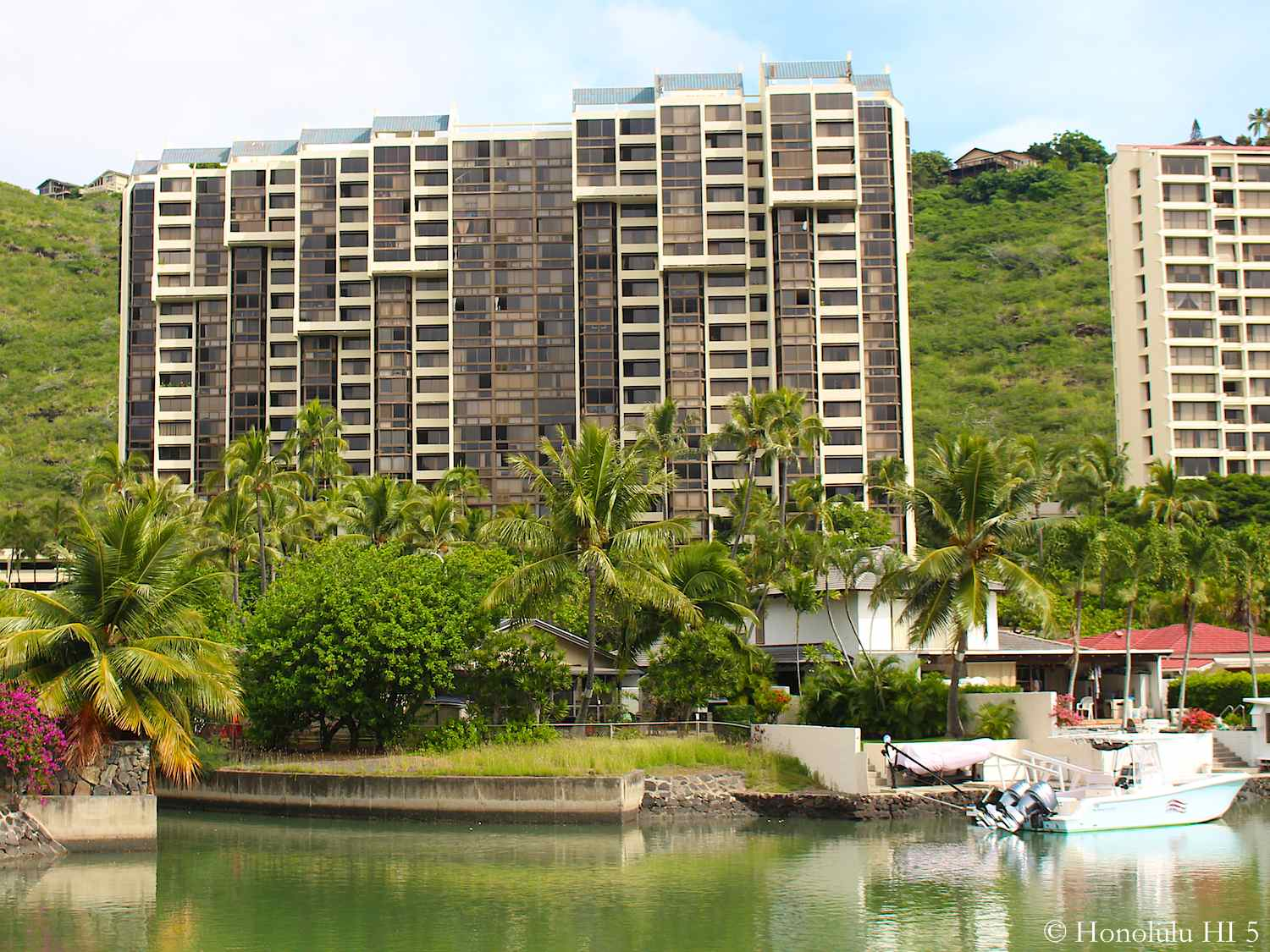 Mauna Luan Condo Hawaii Kai Seen with Marina in the Front and Green Hill Behind
