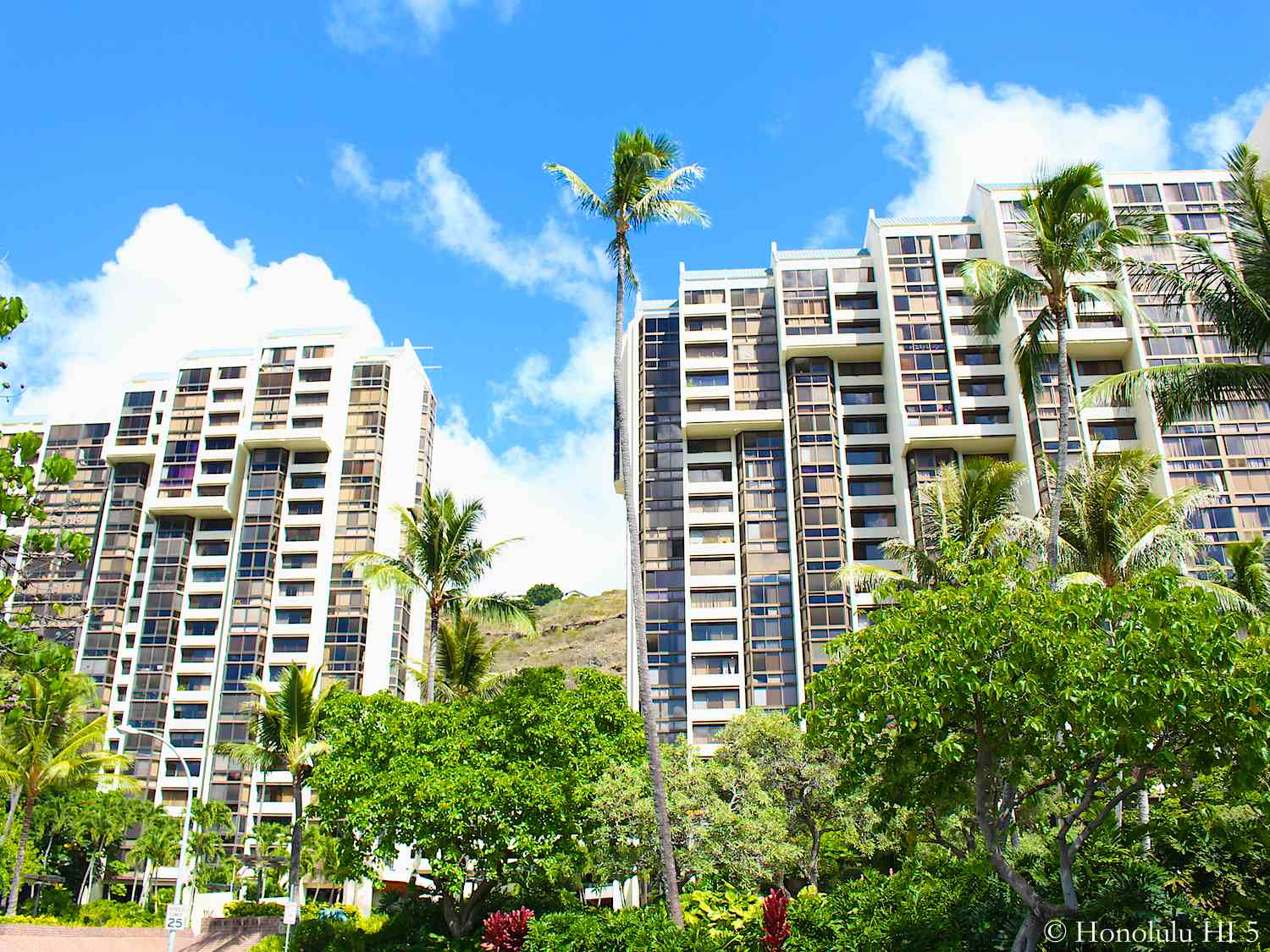 Mauna Luan Condos in Hawaii Kai Seen with Beautiful Lush Green in Front of These Two High-rise Towers