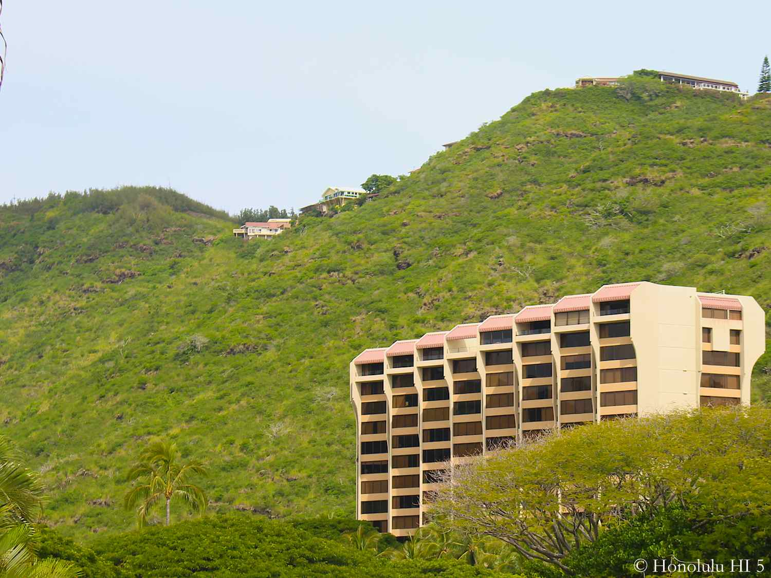 The Commodore Condo in Hawaii Kai Seen with Mountain Range in Background