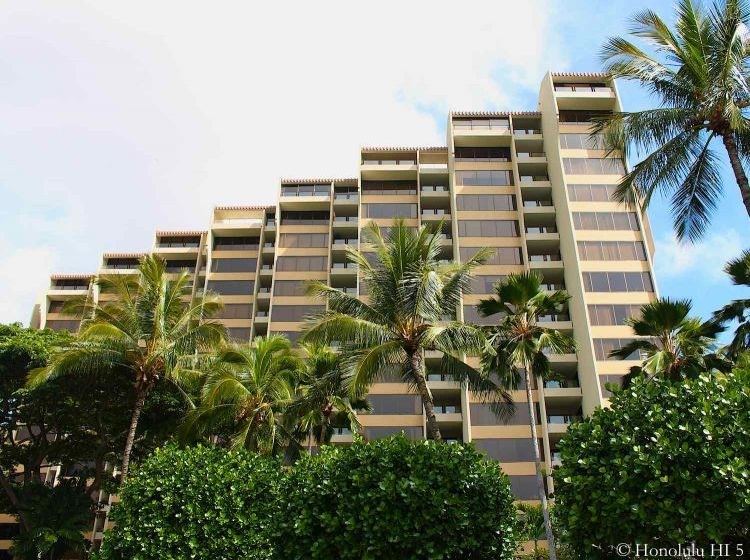 The Commodore Condos in Hawaii Kai Picture From Bottom Up with Palm Trees and Bushes in Front