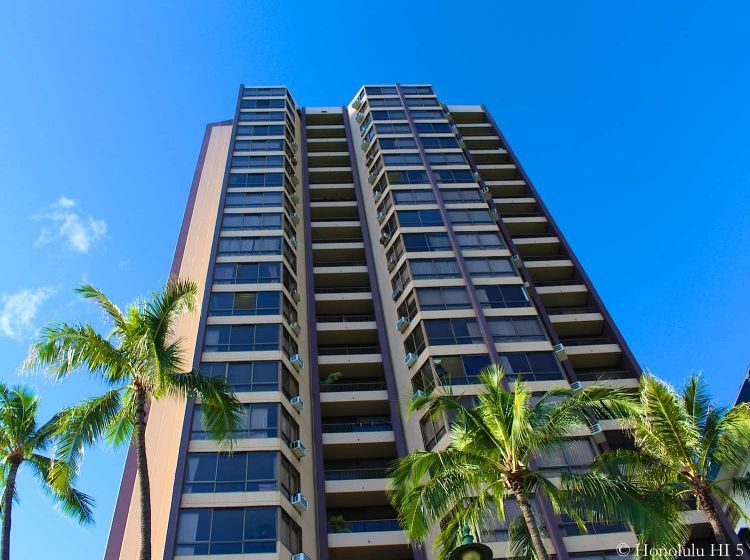 Monte Vista Condo in Waikiki Seen From Lower Floors Up.