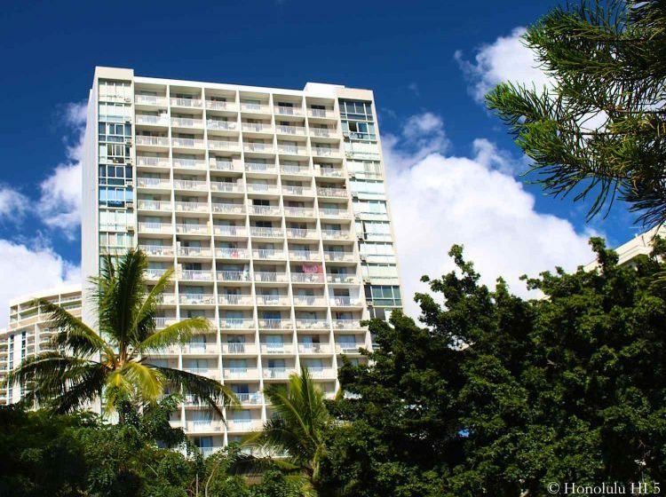 Pavilion at Waikiki Condo - Older High-rise White Building