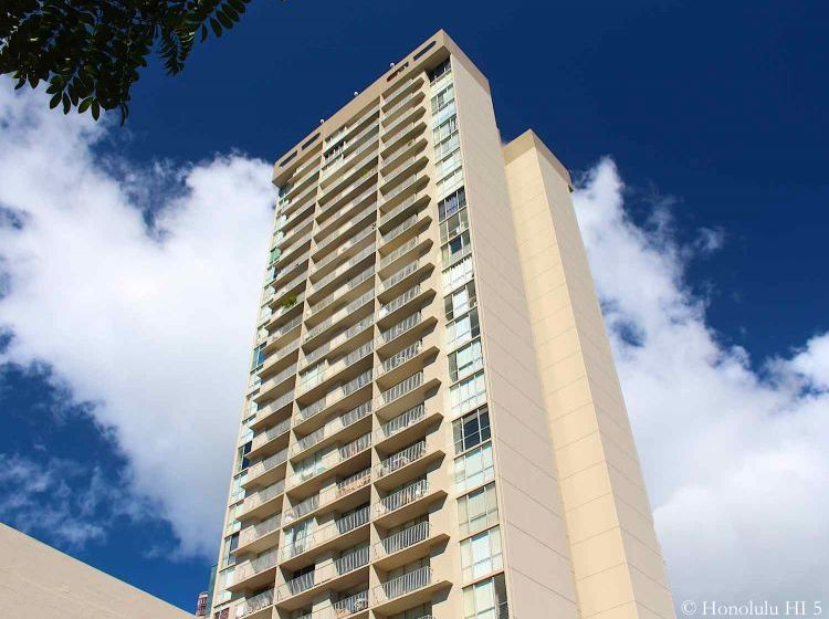 Pavilion at Waikiki - Seen From Bottom Up. High-rise Condo Building