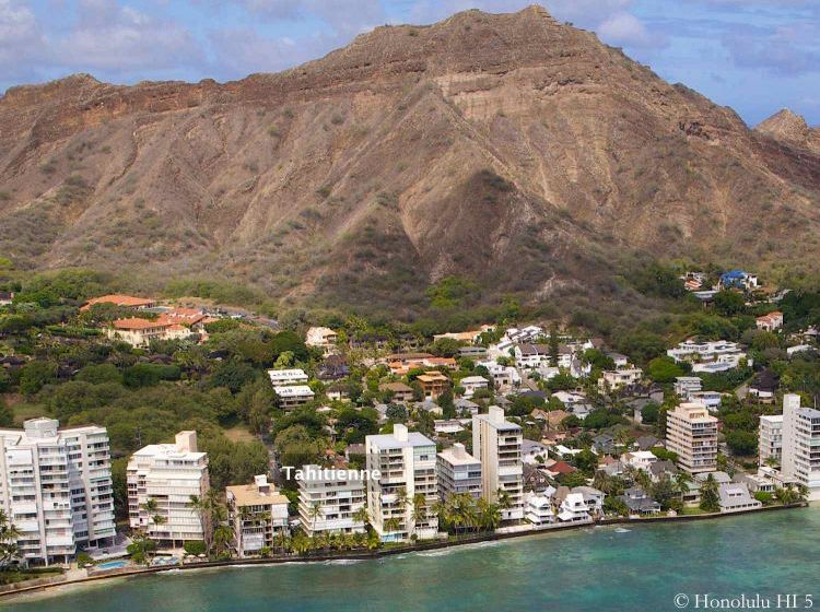 Hawaii's Gold Coast - Tahitienne Highlighted. Aerial Photo.