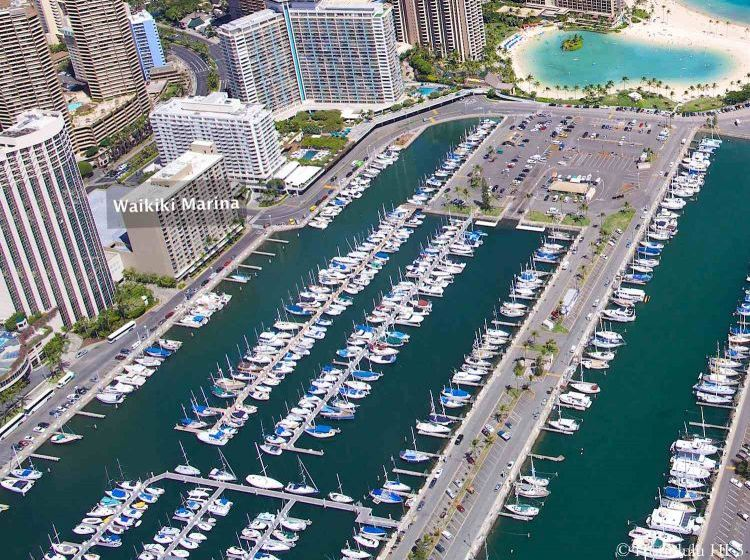 Ilikai Marina Condo in Waikiki Seen From the Air