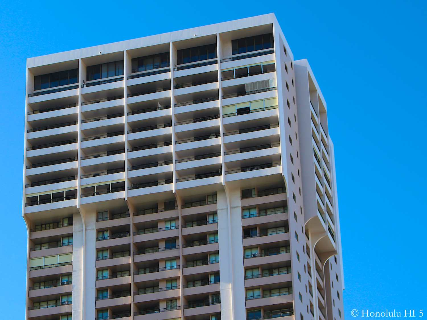 Top Floors of Royal Kuhio Condos Seen From Outside