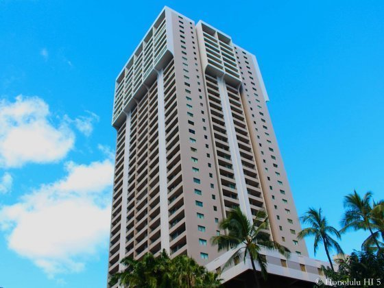 Royal Kuhio Condo in Waikiki Seen From Bottom Up