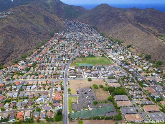 Kalama Valley Homes in Hawaii Kai Seen From the Air