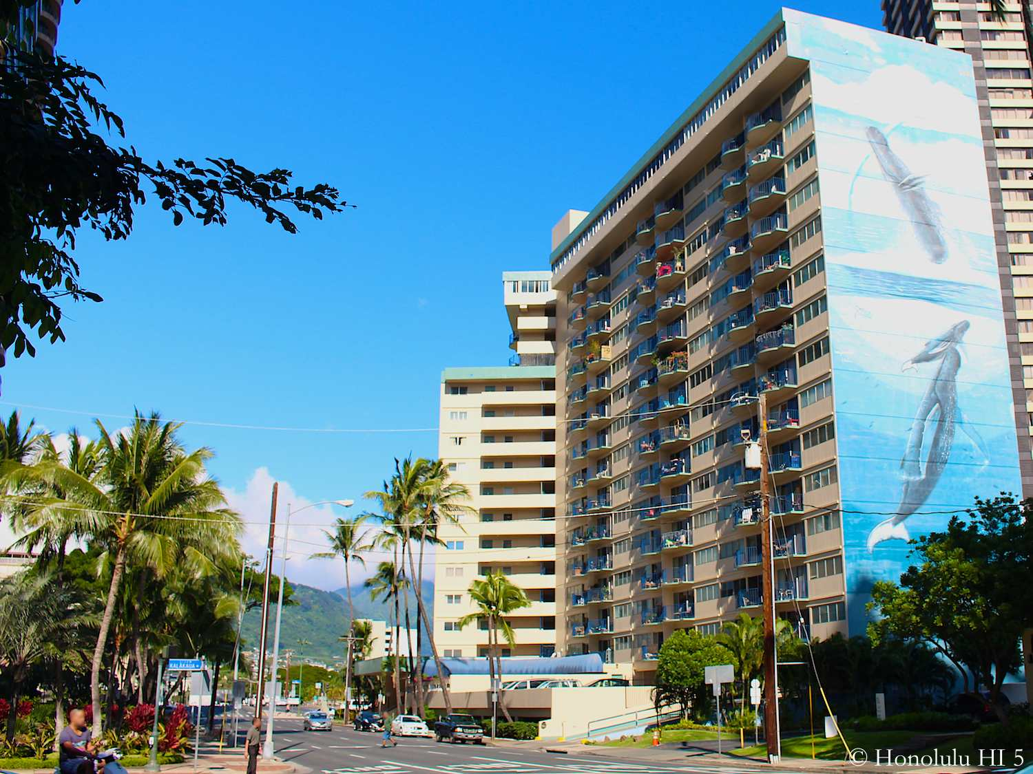 Royal Aloha Condo in Waikiki Seen from Kalakaua with Mountain in Background