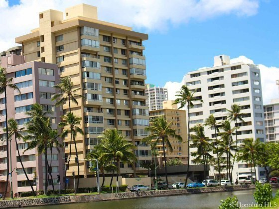 Kealani Condo in Waikiki Seen From Across the Ala Wai