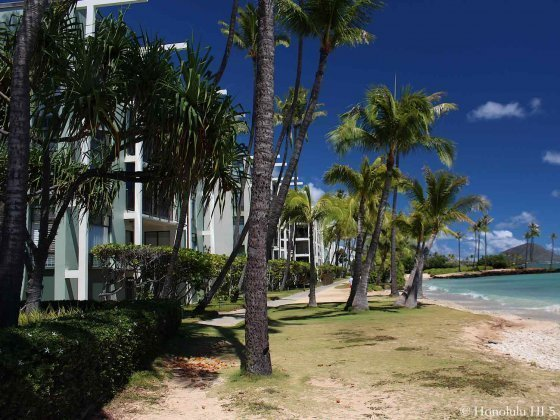 Kahala Beach Condos with Lush Green and Beach in Front