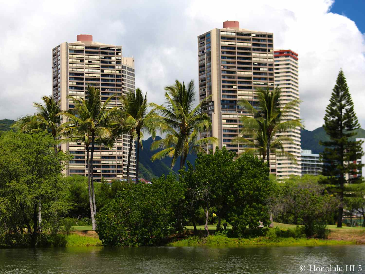 Royal Iolani Condos in Honolulu Seen From Waikiki Side