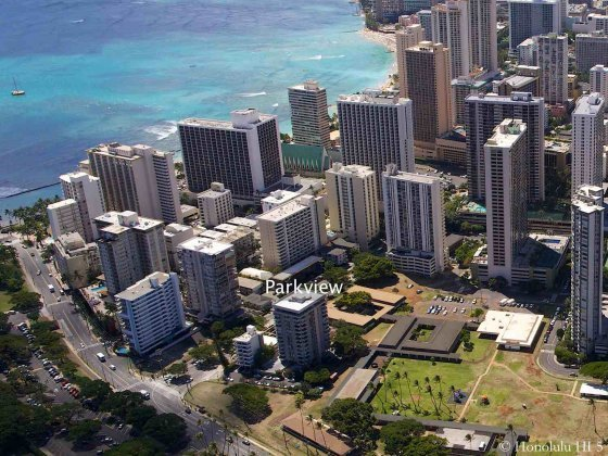 Parkview Condo in Waikiki Seen From the Air with Ocean in Background