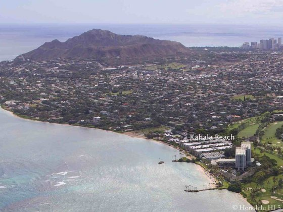 Kahala Beach Condos Aerial Shot with Diamond Head in Far Distance