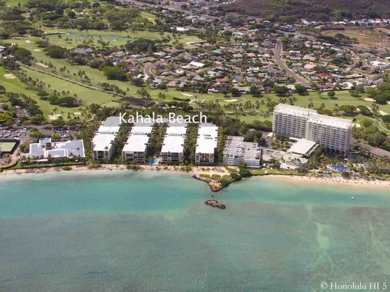 Kahala Beach Condos Seem From a Helicopter on Ocean Side