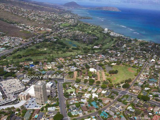 Regency at Kahala Condo Aerial Shot with Waialae Golf Course and Ocean in Distance