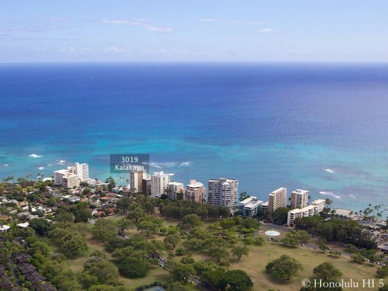 Diamond Head Gold Coast with 3019 Kalakaua Highlighted - Aerial Photo