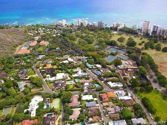 Diamond Head Homes with Gold Coast in Distance - Aerial Photo