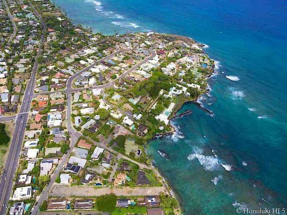 Diamond Head Homes with Black Point Homes Behind - Aerial Photo