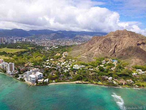 Diamond Head Real Estate and Crater in Background - Aerial Photo