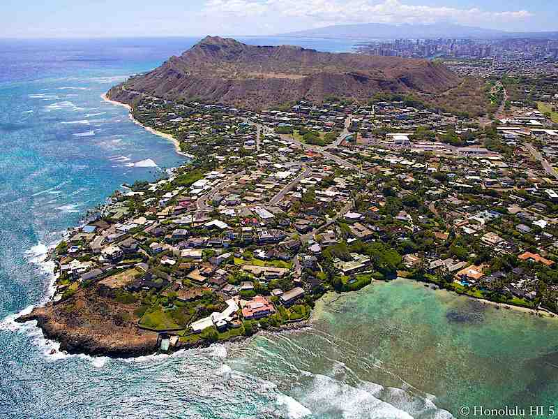 Black Point Honolulu with Diamond Head in Distance - Aerial Photo