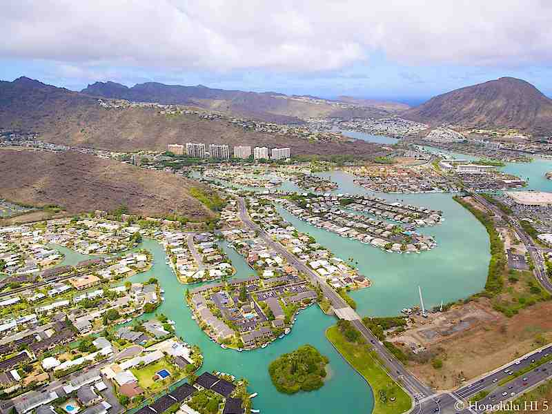 Hawaii Kai Townhomes with Condos in Distance - Aerial Photo
