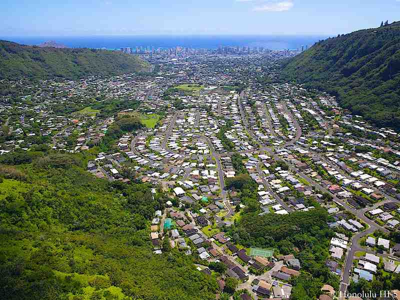 Manoa Real Estate with Ocean in Distance - Aerial Photo