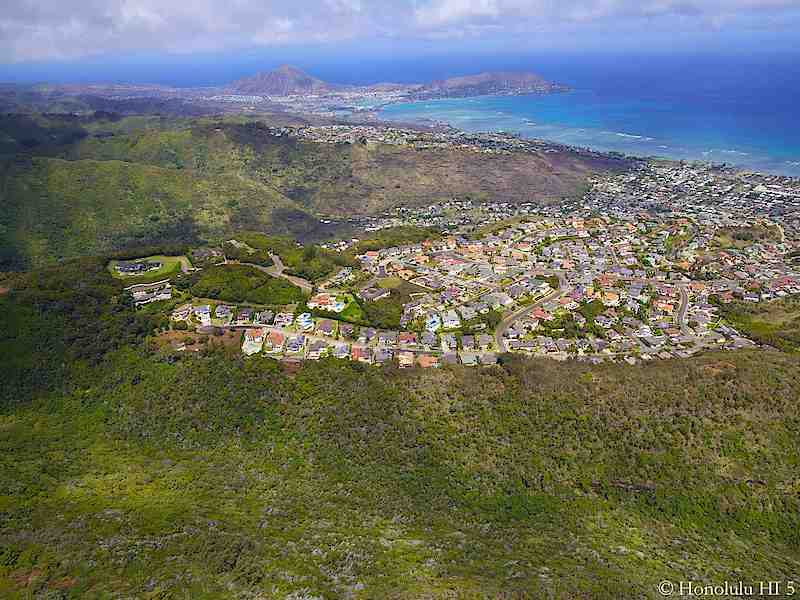 Waialae Iki Homes with Portlock in Distance - Aerial Photo