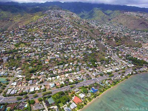 Waiale Iki Aerial Photo with Wailupe Beach in Front