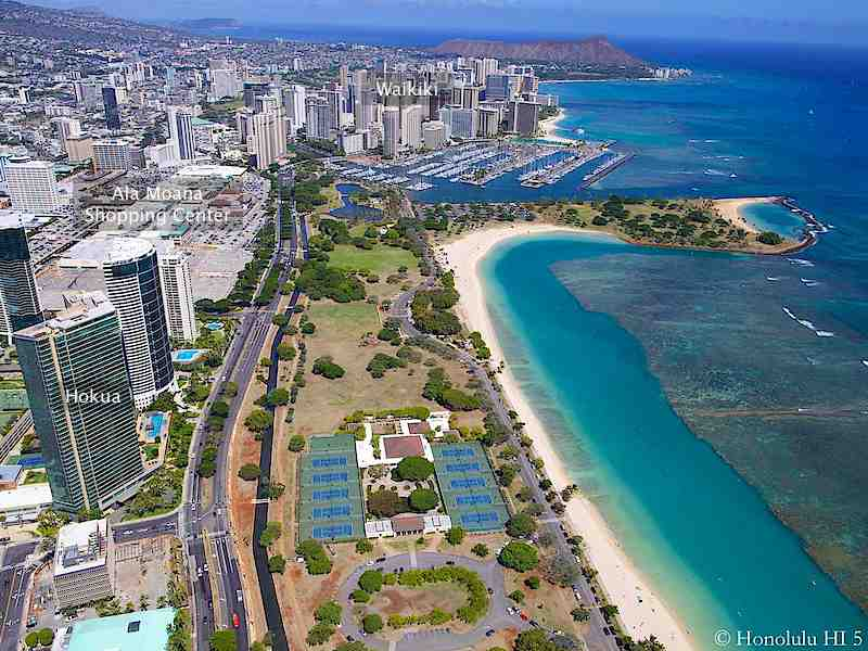Hokua Condo, Ala Moana Beach Park and Waikiki in Aerial Photo